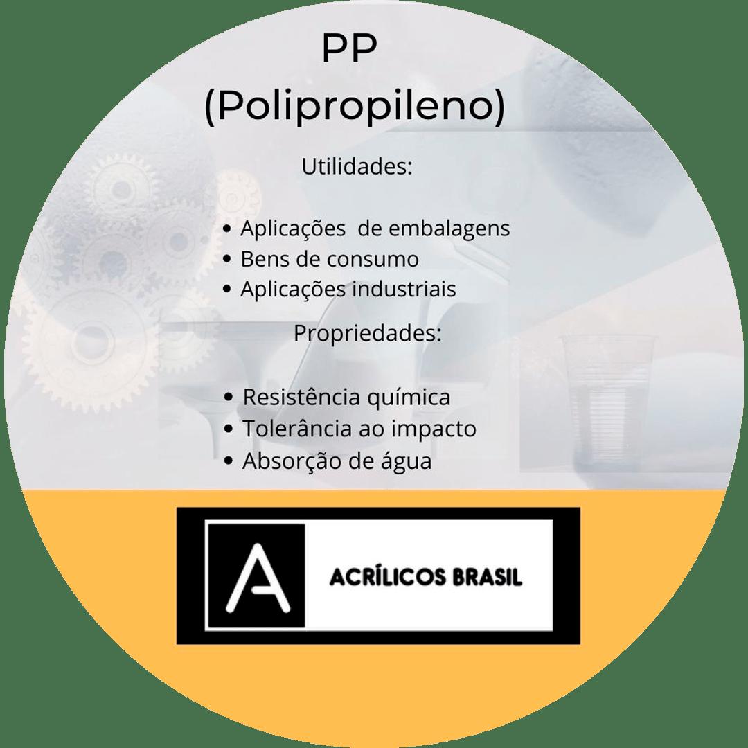 O PP (Polipropileno)  é um material frequentemente comparado ao PVC (policloreto de vinila). Embora não seja tão frequentemente usado como o PVC, o PP é um dos maiores plásticos utilizados na modernidade.